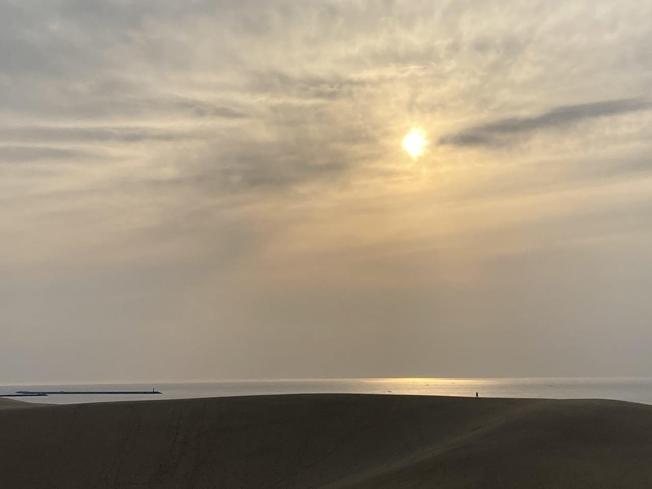 鳥取砂丘の馬の背から観る夕日