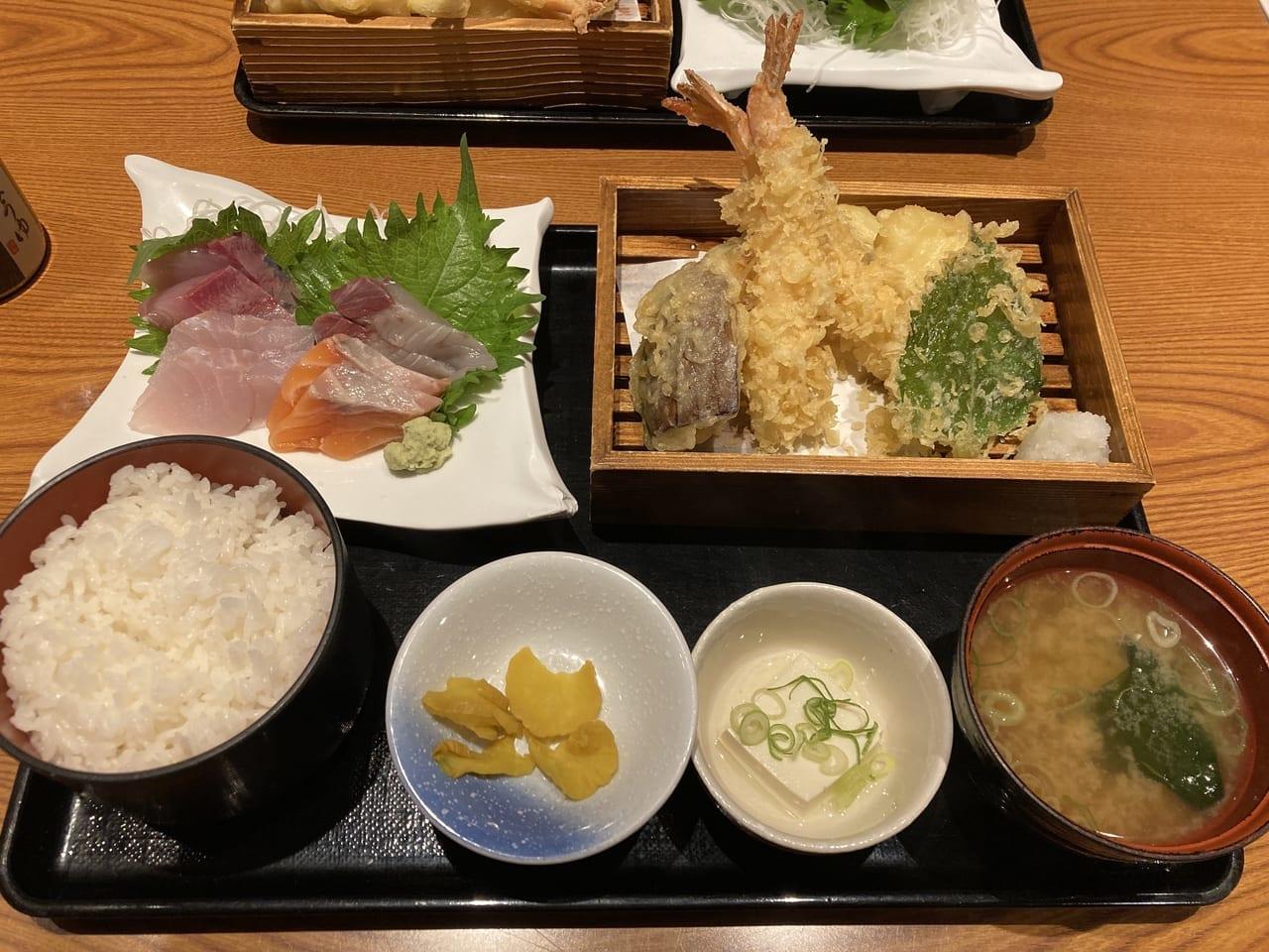 魚鮮水産の刺し身天ぷら定食