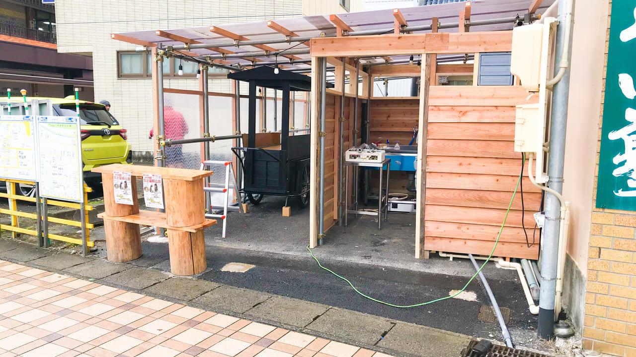 犬山駅の工事中の屋台