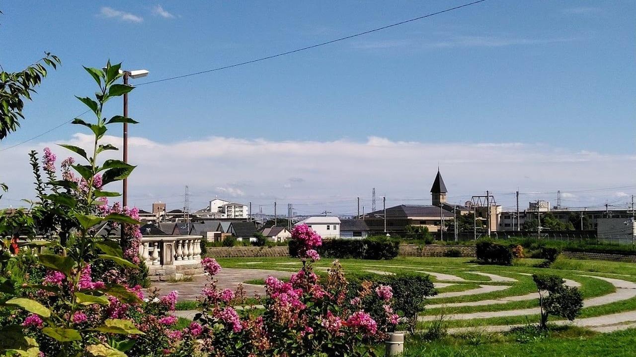 山本新池公園から東公民館を臨む